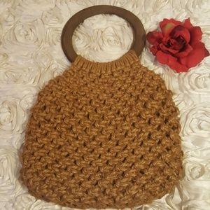 Womens Purse Macrame Woven Rope Wooden Handle